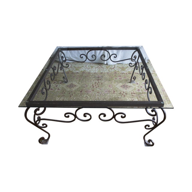 Brimfield Iron and Glass Coffee Table For Sale