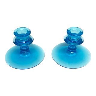 Mid Century Royal Blue Art Glass Candlesticks