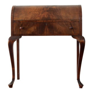 Queen Anne Style Curved Mahogany Secretary Desk With Key For Sale