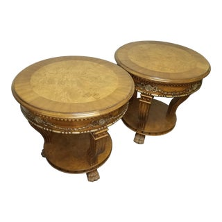 1970s Vintage Hekman Carved and Inlaid Round End Tables - a Pair For Sale