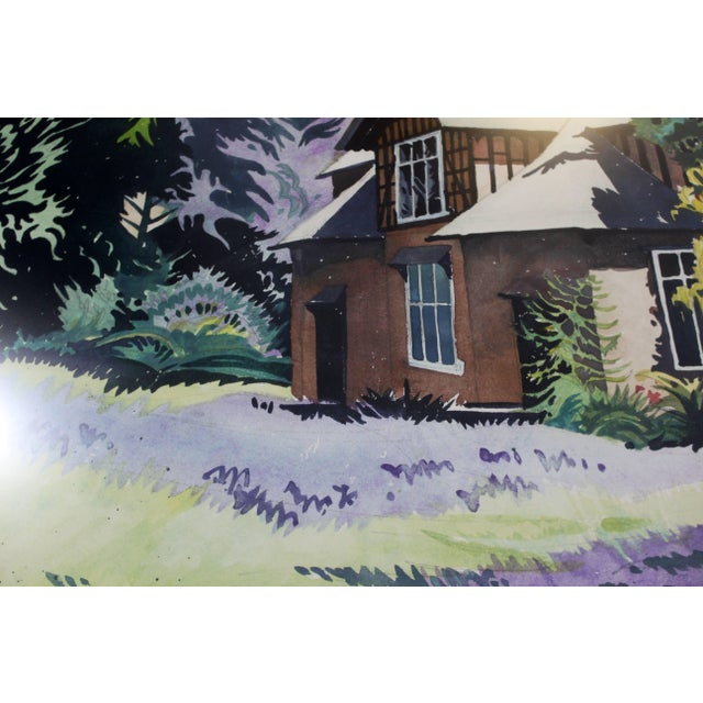 "Impressionist 1980s Mid-Century Modern ""Blue Bells"" Watercolor Painting by Jon Carsman For Sale - Image 3 of 7"
