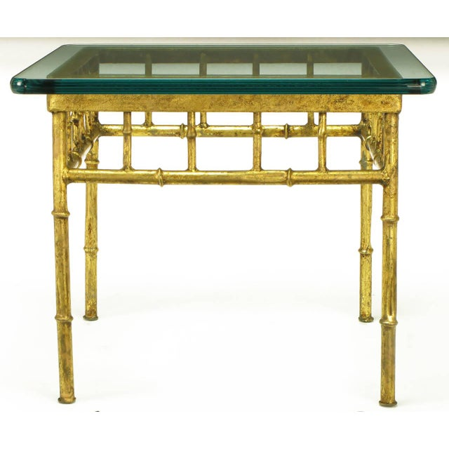 Italian Glazed Gilt Metal Faux Bamboo End Tables - a Pair For Sale In Chicago - Image 6 of 7