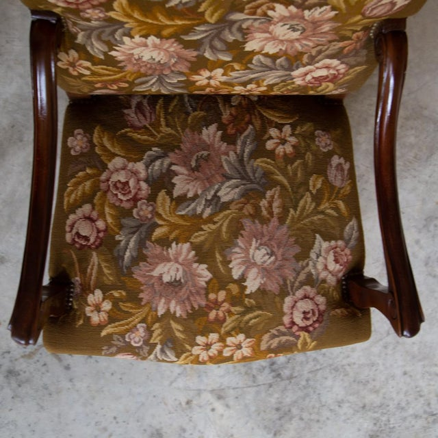 19th Century Antique French Louis XV Original Needlepoint Tapestry Armchair For Sale - Image 11 of 13