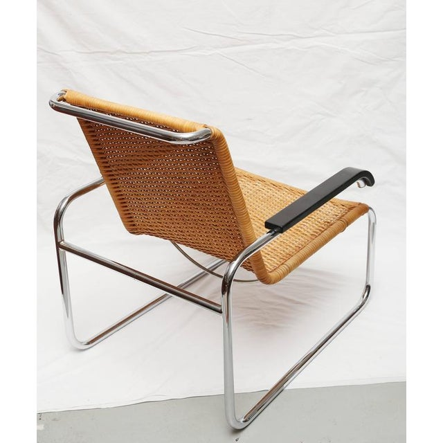1930s Marcel Breuer for Thonet B35 Rattan Lounge Chair with Changeable Armrests For Sale - Image 5 of 9