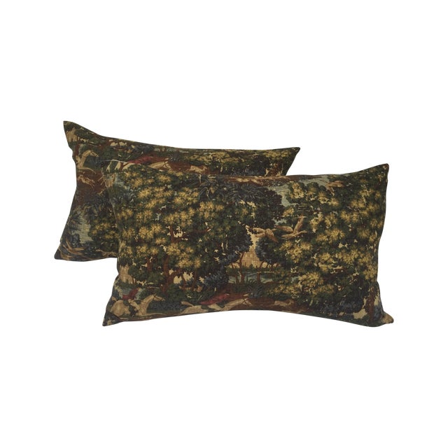English Fox Hunt Linen Pillows - Pair - Image 1 of 8