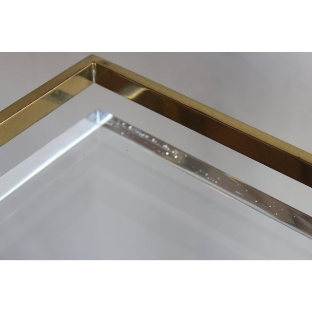 Extremely Rare Karl Springer Custom Ordered Mid Century Modern Heavy Brass and Lucite Bar Serving Cart Table For Sale - Image 10 of 12