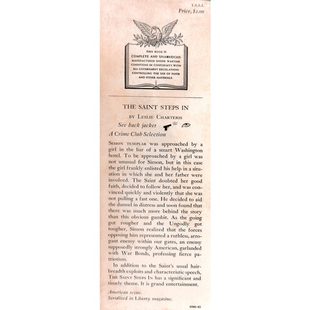"""Booth & Williams 1943 """"The Saint Steps In"""" Collectible Book For Sale - Image 4 of 5"""