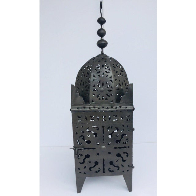 Large Moroccan Hurricane Metal Candle Lantern For Sale - Image 13 of 13