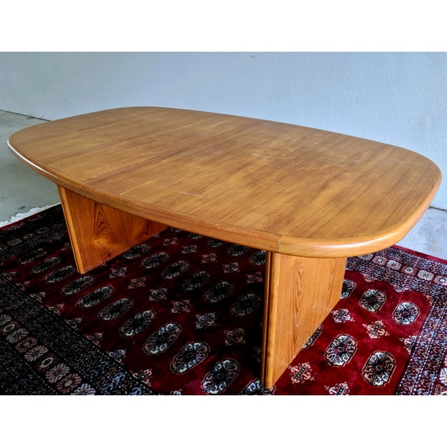 """Brown 1970s Danish Modern 110"""" Teak Dining Table For Sale - Image 8 of 13"""