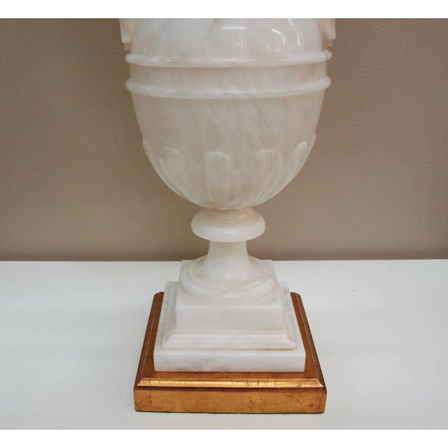 Circa 1950 Hand-Carved Italian Hollywood Regency Alabaster Lamp For Sale - Image 9 of 11