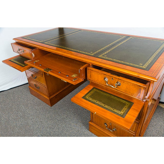 English Traditional Yewood Kneehole Executive Desk For Sale - Image 9 of 12