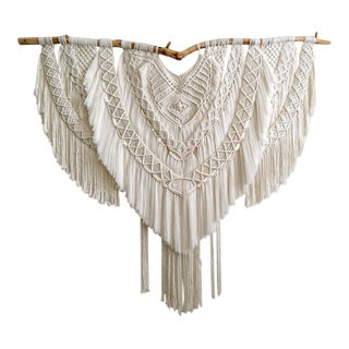 Gorgeous Macrame Wall Hanging on Wood For Sale
