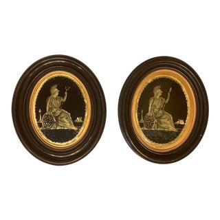 Pair of Framed Oval Eglomise Panels of Classical Figures For Sale