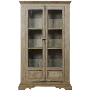 Tall Painted Display Cabinet of 19th Century French Windows and Reclaimed Wood For Sale