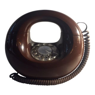 1970s Americana Western Electric Chocolate Brown Sculptura Donut Rotary Phone For Sale