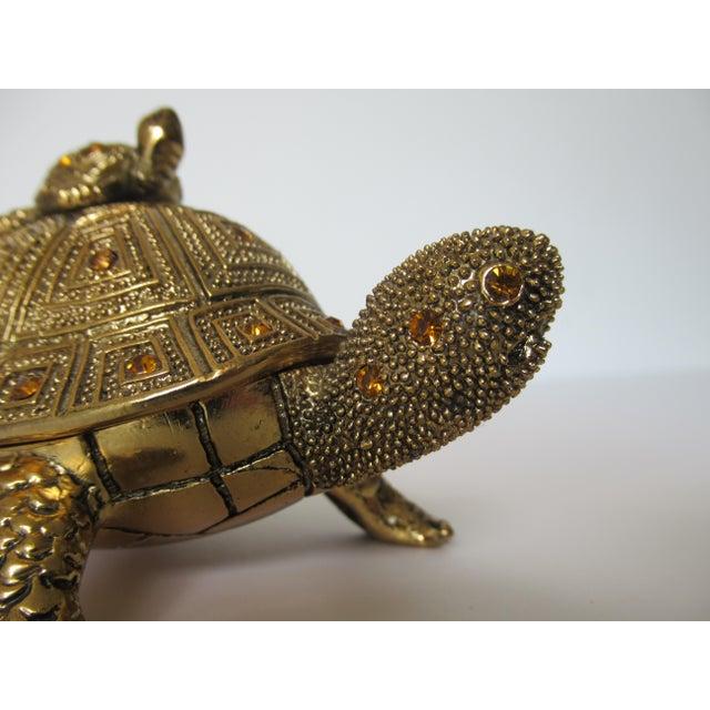 Greek Key Gilt Brass Bejeweled Turtle Lidded Keepsake Box, Letter Opener & Magnifier Set in One - 3 Pieces For Sale - Image 11 of 13