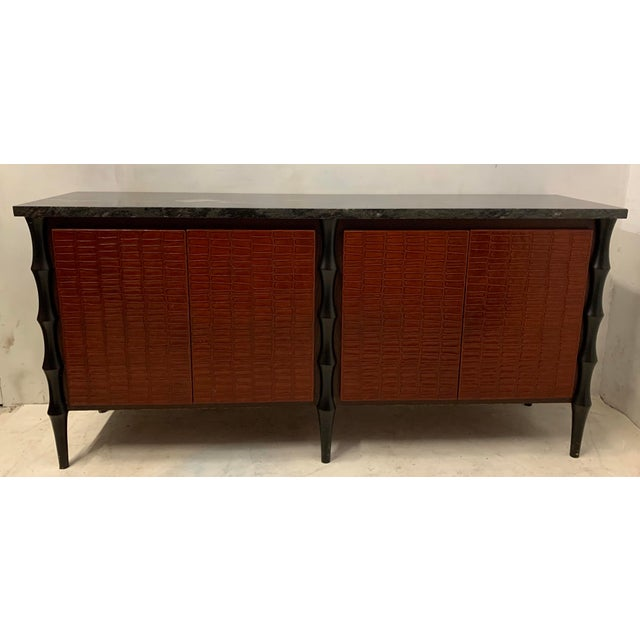 Billy Baldwin Style Faux Crocodile Credenza or Sideboard For Sale - Image 10 of 11