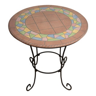 (Final Markdown) Arts and Crafts Bistro Table Hand Crafted Forged Iron & Stone Top For Sale