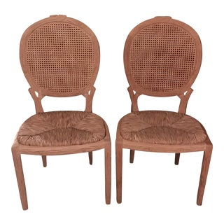Faux Bois Dining Chairs - Pair For Sale