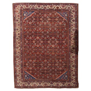 "Antique Persian Handmade Mahal Rug - 8'9"" X 11'7"" For Sale"