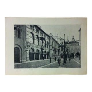"""Circa 1930 """"Loggia Degli Osh"""" Print of Milano Italy For Sale"""