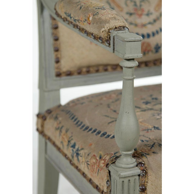 French 19th Century Painted Open Arm Chair For Sale - Image 3 of 4