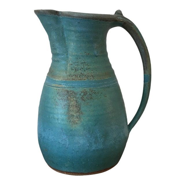 20th Century Boho Chic Turquoise Studio Pottery Pitcher For Sale