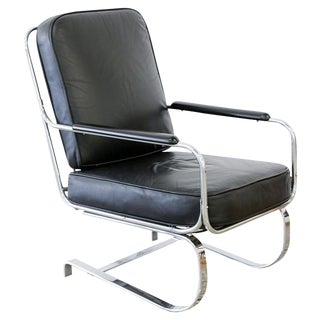 Springer Armchair Black Leather by Kem Weber for Lloyd Mfg, Bauhaus, Deco, 1935 For Sale