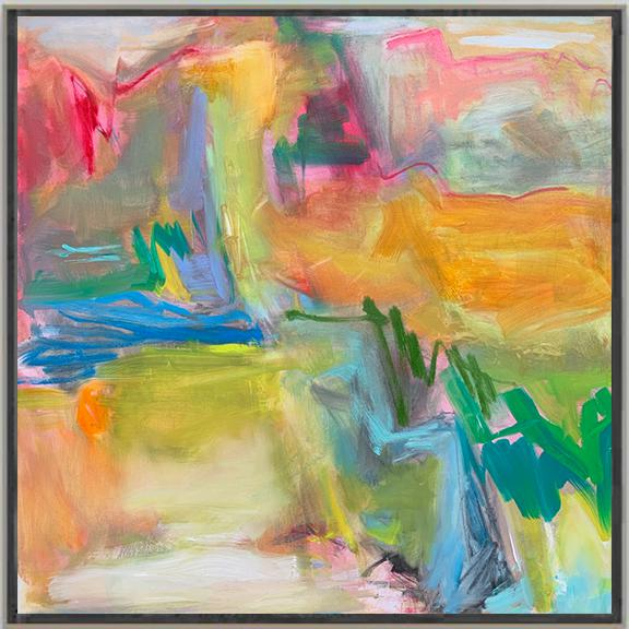 """Abstract """"Desert Rain"""" by Trixie Pitts Large Abstract Oil Painting For Sale - Image 3 of 10"""
