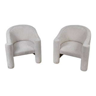 Barrel Back Club Chairs - a Pair For Sale
