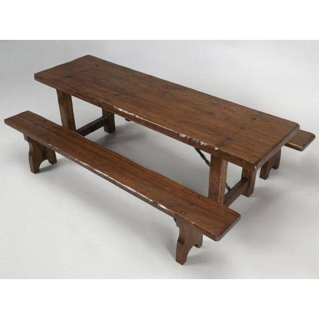 French Farm Table With Matching Benches - 3 Pc. Set For Sale - Image 13 of 13