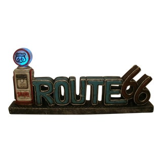 Vintage Style Route 66 Resin Sign & Gas Pump Lighted Sign