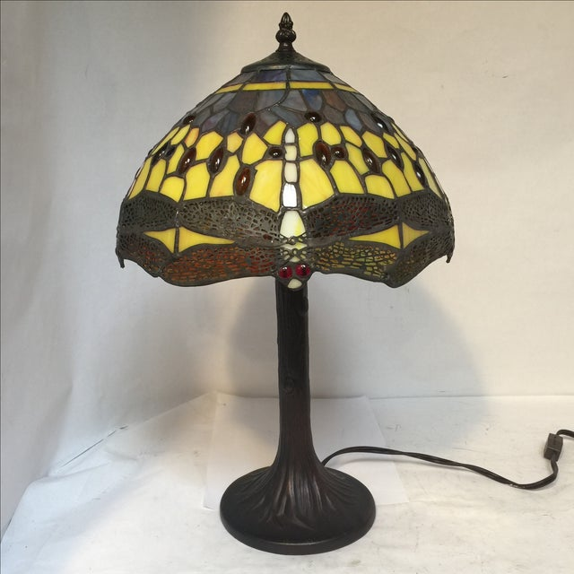 Art Nouveau Medium Dragonfly Lamp For Sale - Image 3 of 8