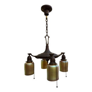 1920s Vintage Brass Pan Fixture With Art Glass Shades For Sale