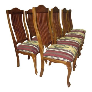 Spindle Back Queen Anne Style Dining Chairs - Set of 8 For Sale