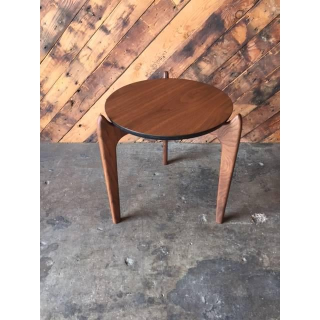 Custom Walnut Sculpted Legs Side Table For Sale In Los Angeles - Image 6 of 7