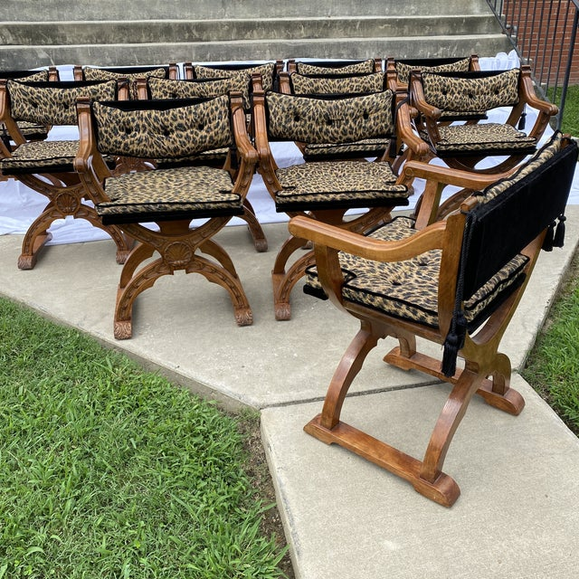 Italian Carved Curule Dining Chairs - Set/12 For Sale - Image 12 of 13