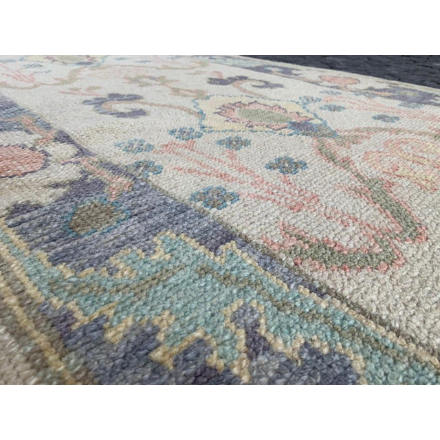 """Textile Handmade Turkish Oushak Runner- 3'1"""" X 12'3"""" For Sale - Image 7 of 9"""