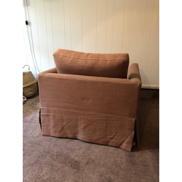 Ethan Allen 21st Century Vintage Jute Brown Slipcover Swivel Chair For Sale - Image 4 of 8