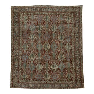 Distressed Antique Persian Bakhtiari Rug with Modern Industrial Style For Sale