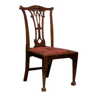 English Side Chair Crafted in the Gothic Taste at the Height of the Chippendale Period. For Sale