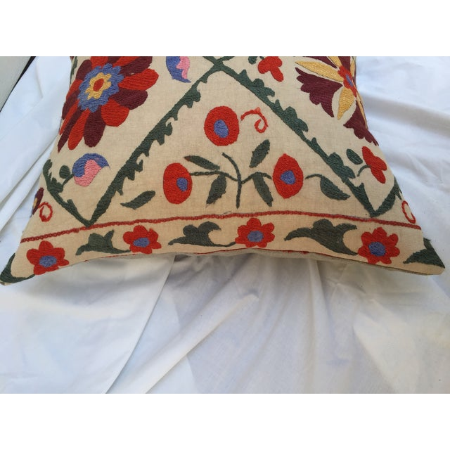 Antique Embroidered Suzani Pillow - Image 5 of 7