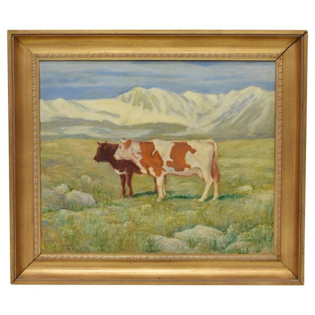 American Two Cows in Mountain Landscape Painting, Signed L. Arnulfo For Sale - Image 3 of 5