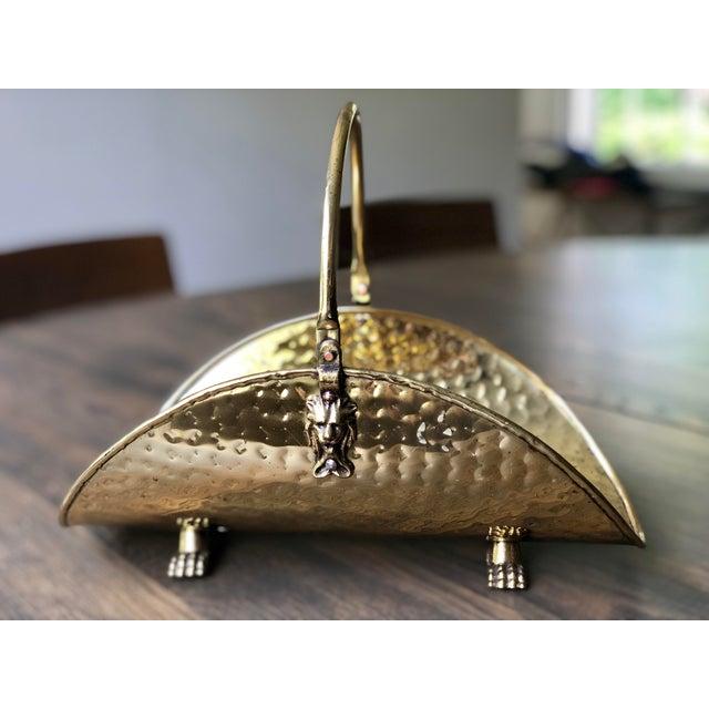Vintage Hammered Brass Petite Hearth Log Carrier For Sale - Image 13 of 13