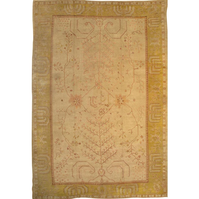 "Pasargad NY Antique Turkish Oushak Hand-Knotted Rug - 11'2"" x 16'10"" For Sale"