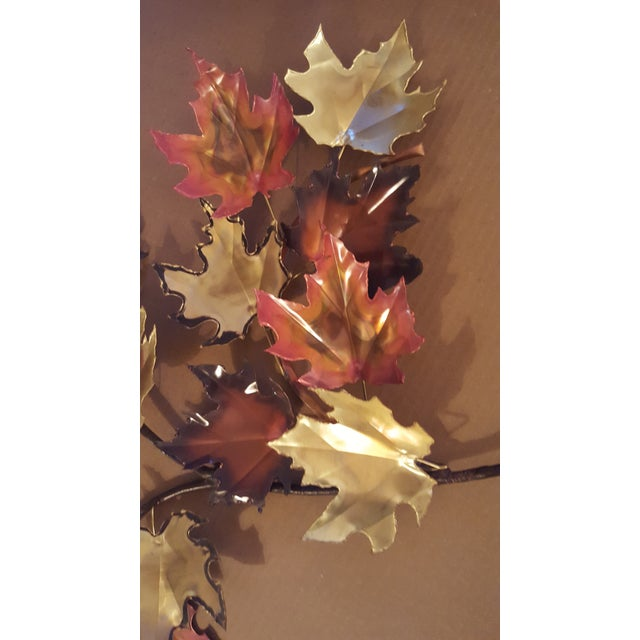 1970s Mid-Century Modern Copper and Brass Metal Welded Leaf Wall Art For Sale - Image 4 of 6