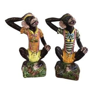"Vintage 1960s Terra Cotta 29"" Dressed Monkey Sculptures - A Pair For Sale"