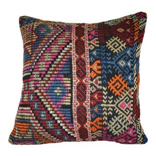 Flat-Weave Kilim Rug Fregment Pillow, Jajim Cushion Cover 20'' X 20'' (50 X 50 Cm) For Sale