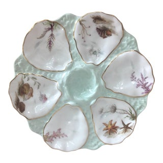 Limoges French Oyster Porcelain Sealife Plate For Sale