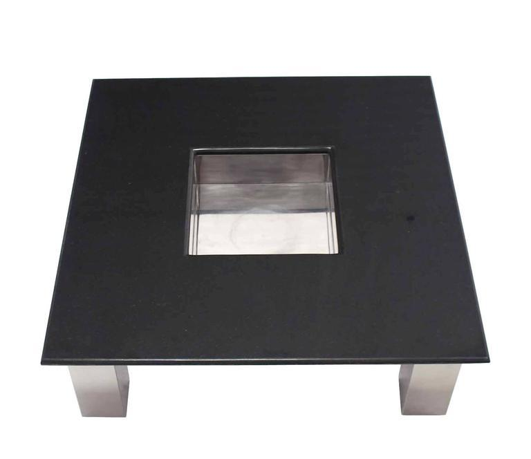 Large Square Granite Top Coffee Table With Center Planter   Image 2 Of 10